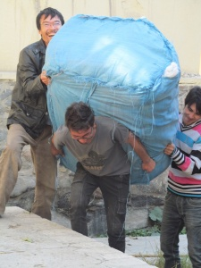 carrying a bale of wool