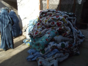 Completed duvets brought back by seamstress